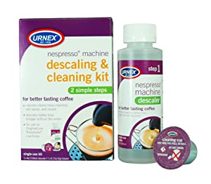 Urnex Nespresso Machine Descaler and Cleaner - 2 Step Descaling and Cleaning Kit