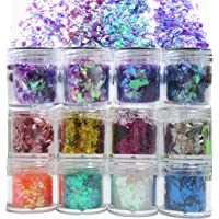 12 Colors Iridescent Chunky Glitter Flakes Irregular Resin Epoxy Art Craft Paint Festival Cosmetic Body Glitter Sequins…