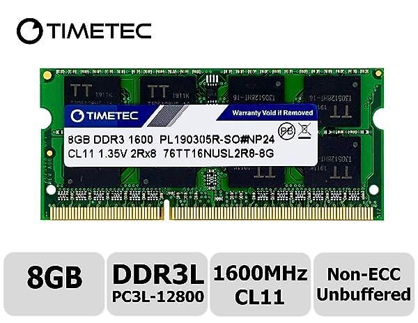 Timetec Hynix IC 8GB DDR3L 1600MHz PC3L-12800 Non ECC Unbuffered 1.35V CL11 2Rx8 Dual Rank 204 Pin SODIMM Laptop Notebook Computer Memory Ram Module Upgrade(8GB) (Tamaño: 8GB)