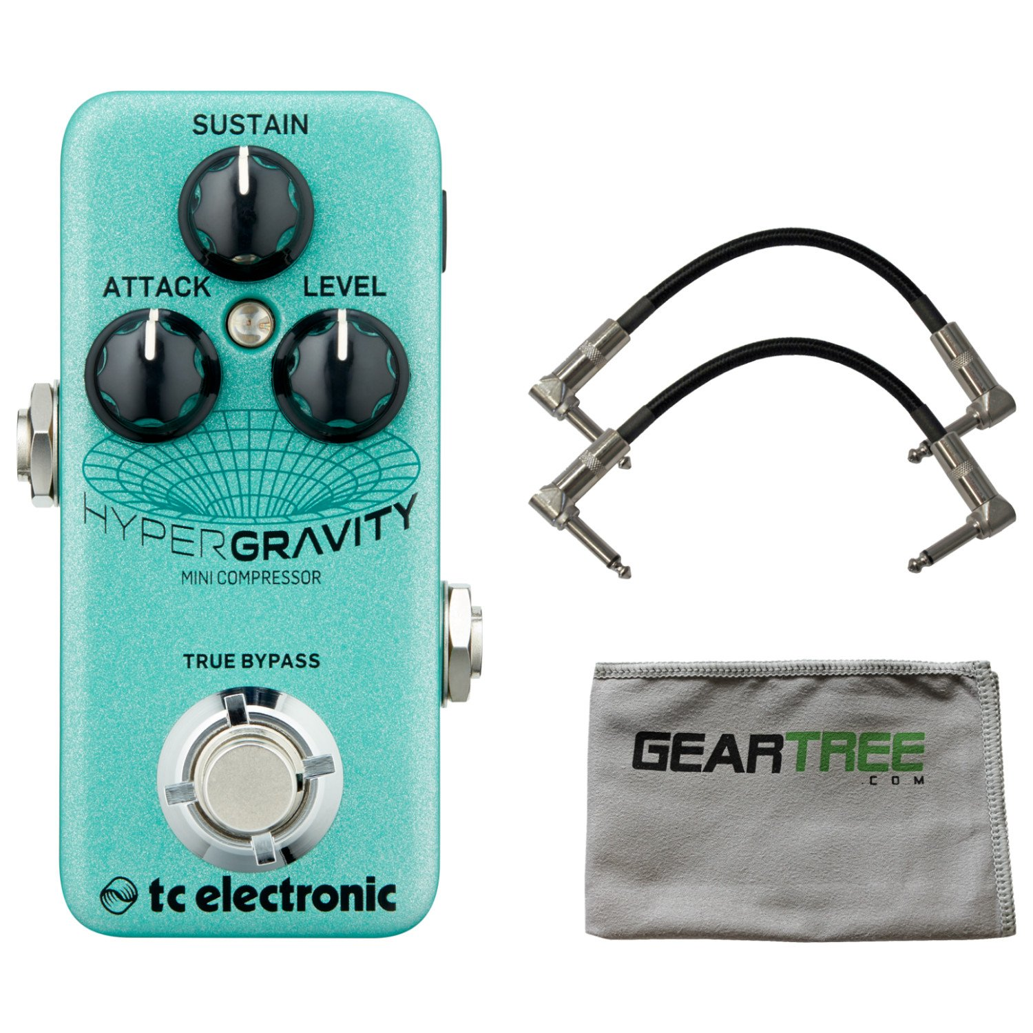 TC Electronic Hyper Gravity Mini Compressor Pedal w/ Cleaning Cloth and 2 Patch Cables