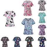 Scrubs Top Women Summer Fashion Print Nurse Uniform Tops V-Neck Short Sleeve T-Shirt Casual Tunic Blouse with Pocket