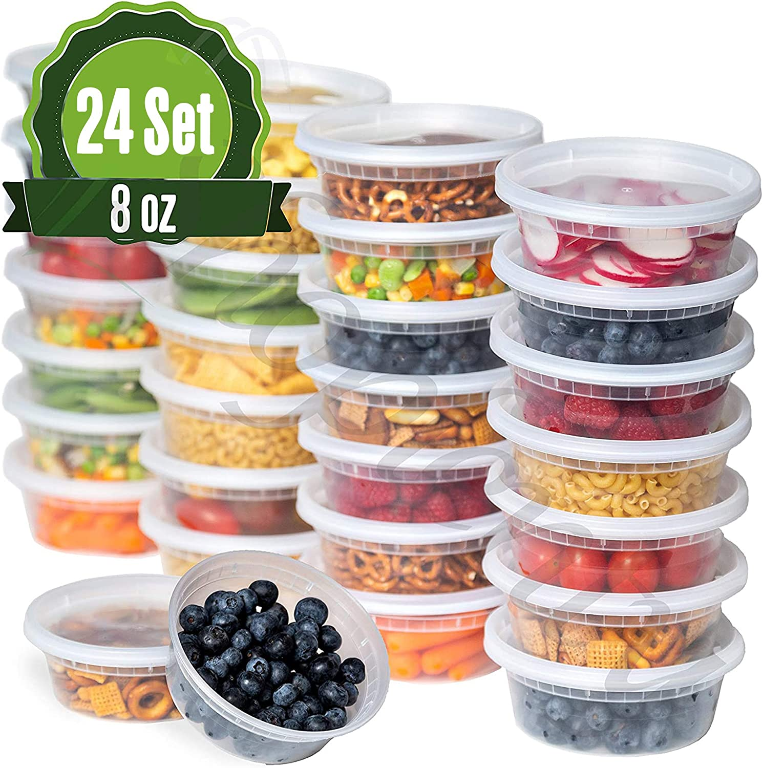 Safeware 8oz [24 Sets] Deli Plastic Food Storage Containers with Airtight Lids - Great for Slime, Soup Containers, Portion Control and Meal Prep | Microwave | Dishwasher | Freezer Safe | Leakproof |