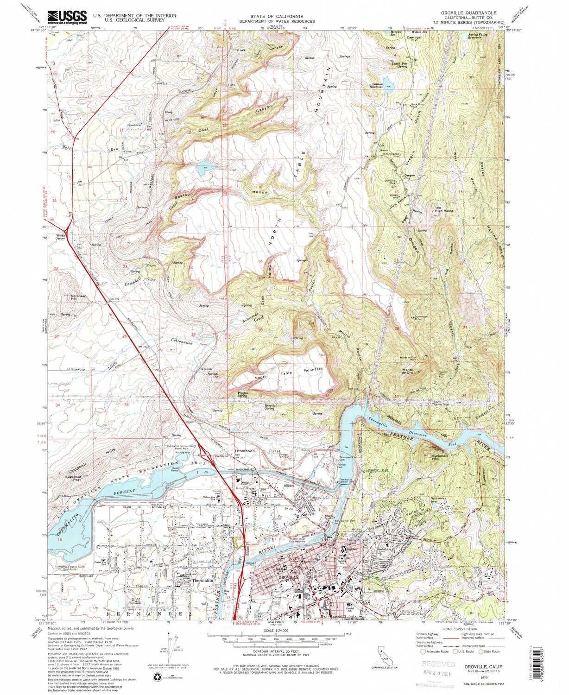Oroville California Map >> Amazon Com Yellowmaps Oroville Ca Topo Map 1 24000 Scale 7 5 X