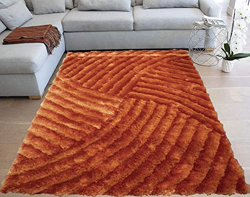 P. LA Shaggy Shag 3D Three-Dimensional Furry Fluffy Fuzzy Flokati Striped Patterned Plush Soft Modern Contemporary Cozy Large 8-Feet-by-10-Feet Polyester Made Area Rug Carpet Rug Orange Rust Colors
