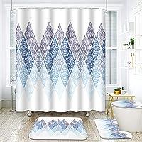 ArtSocket 4 Pcs Shower Curtain Set Bohemian Blue Rhombus Retro Minimalist Style Summer with Non-Slip Rugs Toilet Lid…