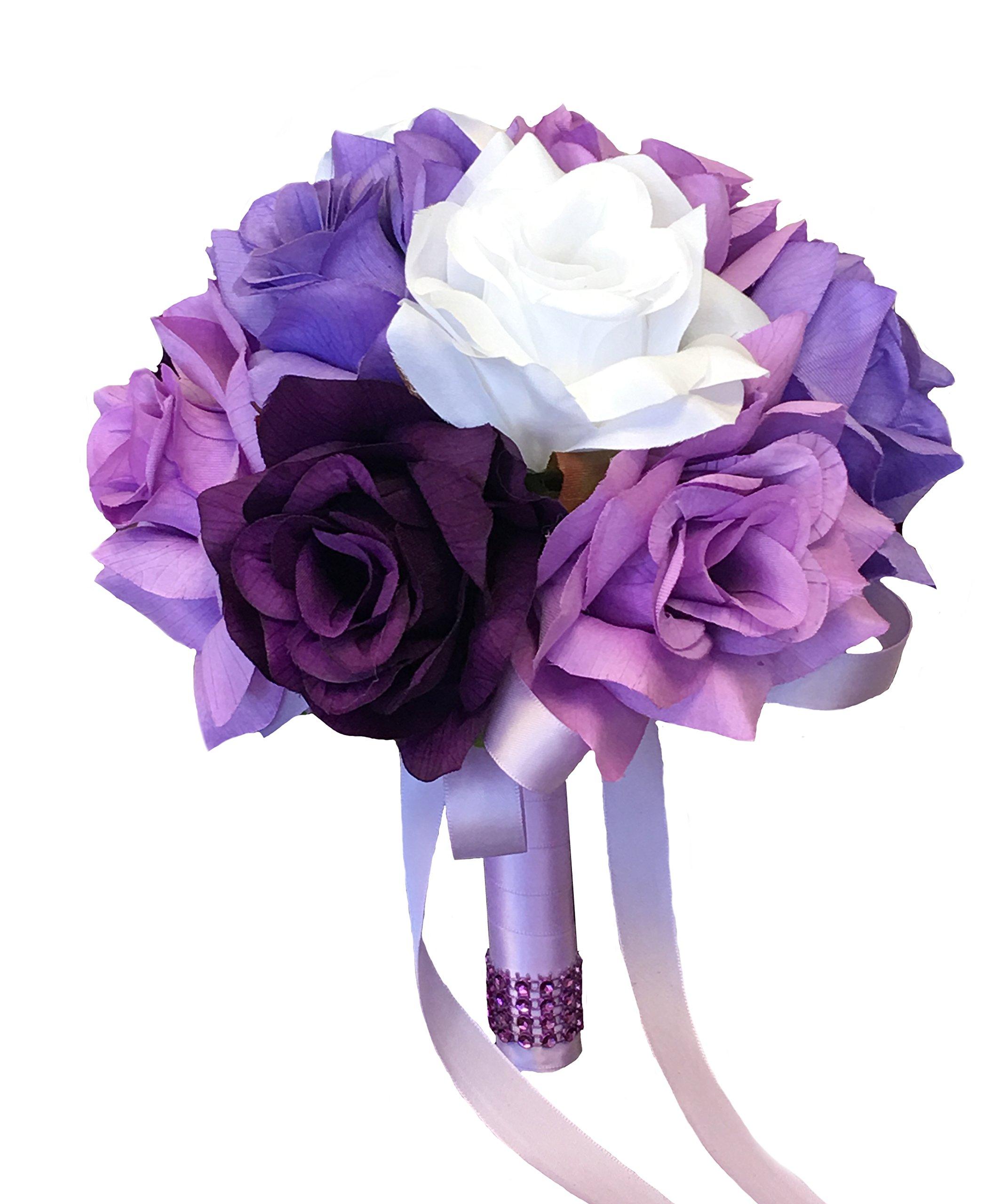 Angel Isabella Toss Bouquet – Purple Lavender White Rose
