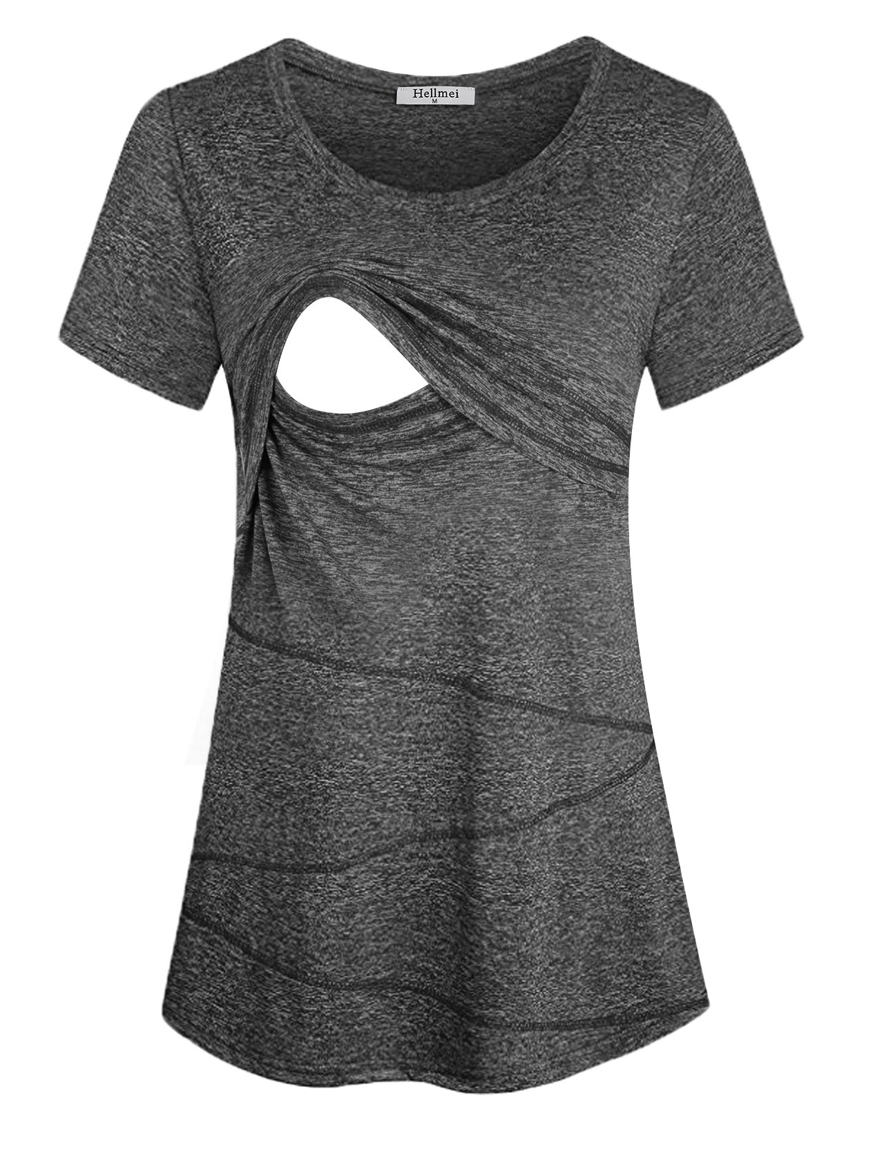 Hellmei Breatfeeding Tunic, Women Summer Layered Comfy Nursing Top Shirt Soft Cotton Stretchy Solid Relaxed Fit Round Neck Casual Maternity Clothing Plus Size(XX-Large, 03BlackGrey)
