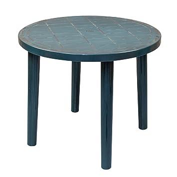Resol Tossa Table de jardin ronde en plastique Vert Diamètre 86 cm ...