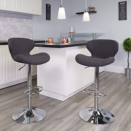 Flash Furniture 2 Pack Contemporary Charcoal Fabric Adjustable Height Barstool