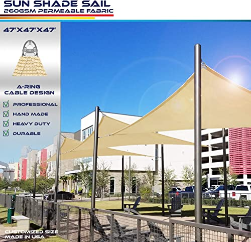 Windscreen4less A-Ring Reinforcement Large Sun Shade Sail 47' x 47' x 47' Right Triangle Super Heavy Duty Strengthen Durable 260GSM