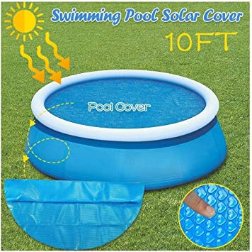 Pool Cover Pool Heater Floats Solar Sun Heater Pool Cover 4 Foot Round Above Ground Blue Protection Swimming Pool For Garden Outdoor Swimming Pool Color Blue 10ft Size