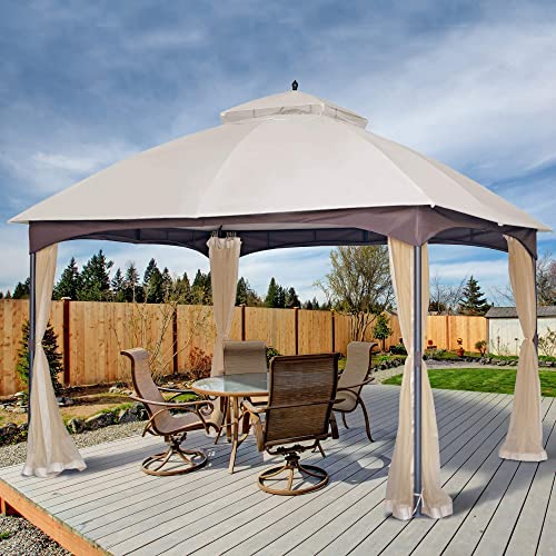 AsterOutdoor 10×12 Outdoor Gazebo for Patios Canopy for Shade and Rain with Mosquito Netting, Waterproof Soft Top Metal Frame Gazebo for Lawn, Garden, Backyard and Deck, 99 UV Rays Block Beige