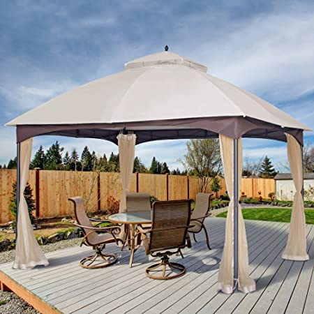 Amazon Com Asteroutdoor 10x12 Outdoor Gazebo For Patios Canopy For Shade And Rain With Mosquito Netting Waterproof Soft Top Metal Frame Gazebo For Lawn Garden Backyard And Deck 99 Uv Rays Block