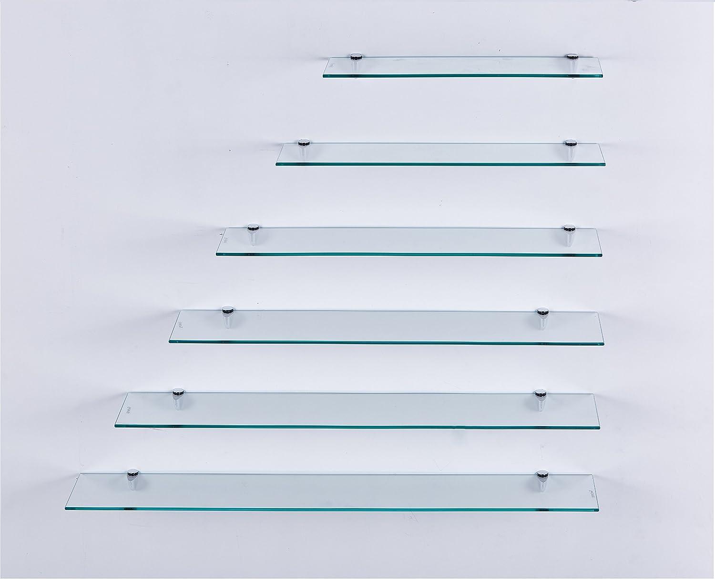 diferentes tama/ños Estante de pared de vidrio transparente 40 cm perfecto como estante de ba/ño estante de vidrio con 6mm de vidrio de seguridad ESG