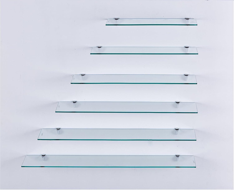 Euro Tische D&S Vertriebs GmbH Étagère Murale en Verre de sécurité avec Support en Verre Transparent 6 mm