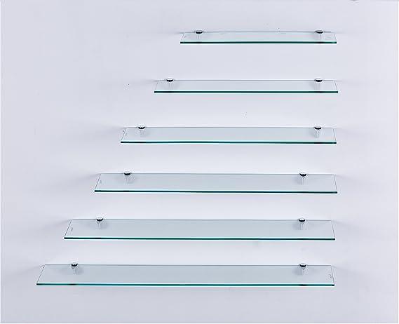 perfekt geeignet als Badablage//Glasablage f/ür Badezimmer Glasregal mit 6mm ESG Sicherheitsglas 70 cm Euro Tische Glas Wandregal Klarglas Verschiedene Gr/ö/ßen