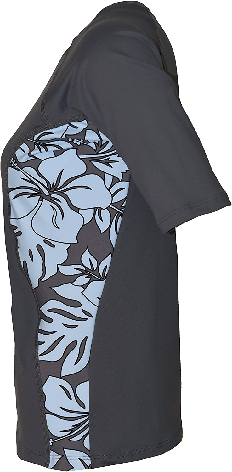 Private Island Hawaii Women UV Wetsuits Short Sleeve Rash Guard Top Workout Outdoor Track Suit//Yoga//Fitness//WRGTS