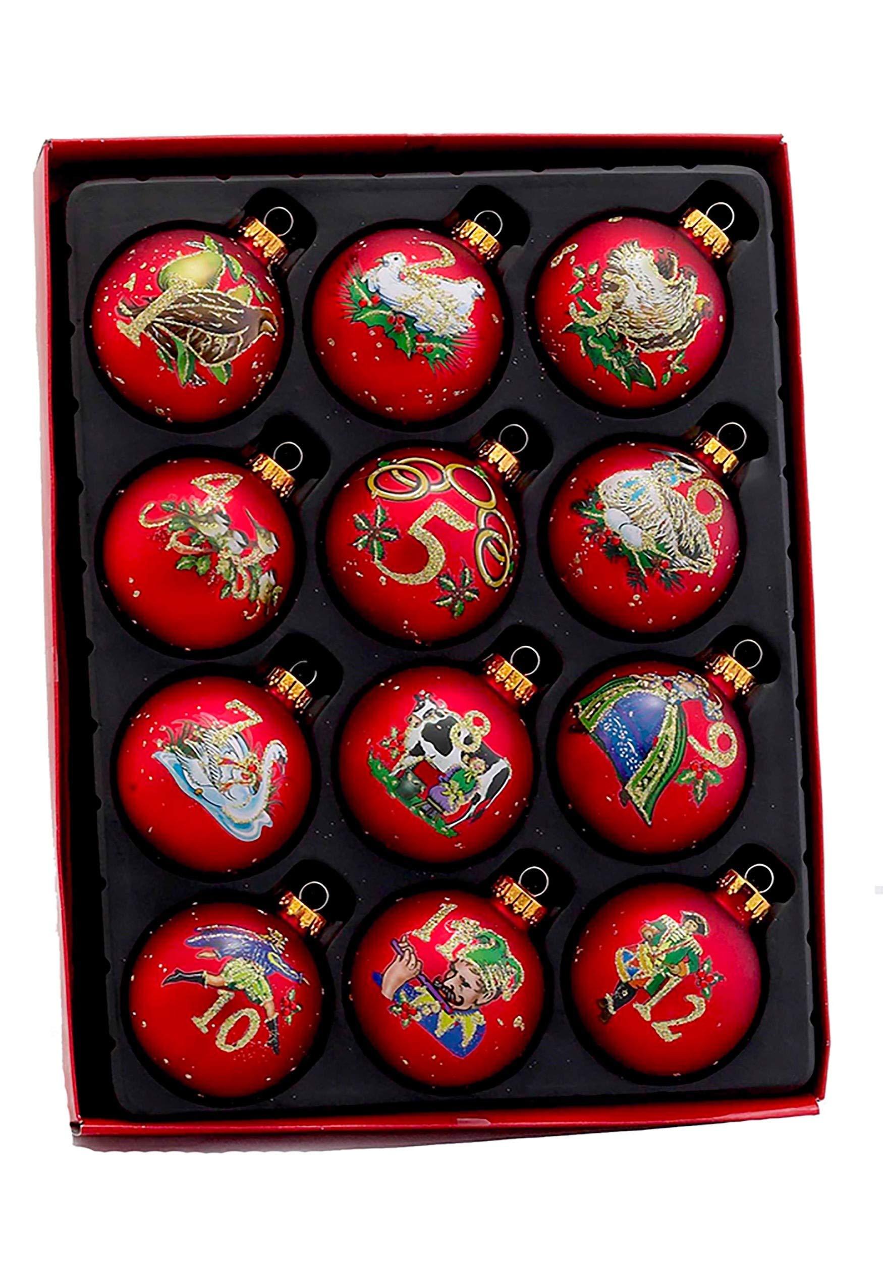 Kurt Adler Twelve Days of Christmas Glass Ball Ornament 12 Piece Set Standard