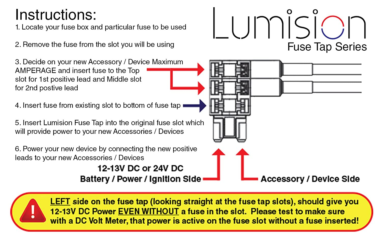 Lumision Dual Fuse Tap Low Profile Lp Mini Aps Att With Box 5 Amp Fuses Automotive Boat Rv 2 Leads Adds Positive Lines Add A Circuit