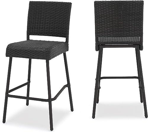 GDF Studio 299525_New Sandy Point Patio Furniture Wicker Outdoor Bar Stool Set of 2