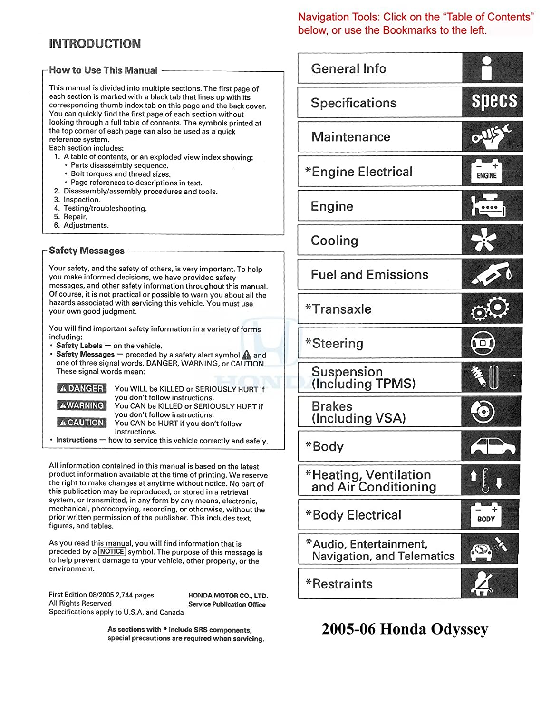 Amazon.com: bishko automotive literature 2005 2006 Honda Odyssey Shop  Service Repair Manual CD Engine Electrical OEM: Automotive