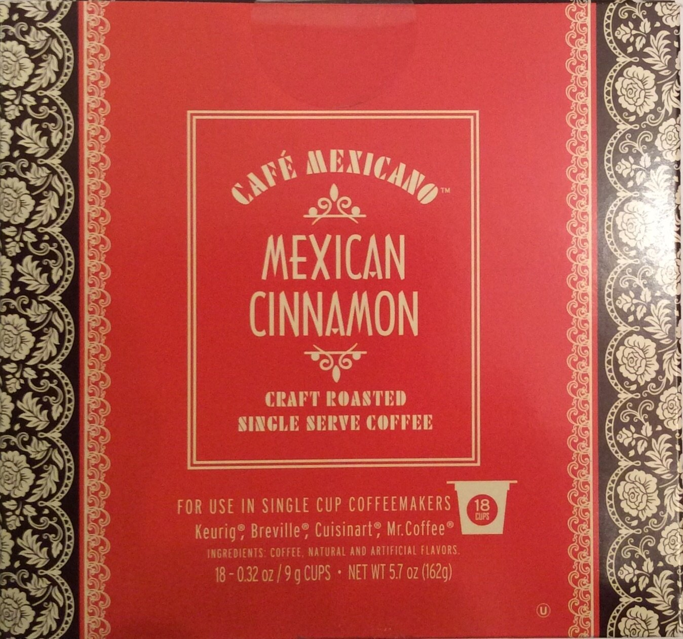 Cafe Mexicano Mexican Cinnamon Craft Roasted Single Serve Coffee 18 Cups, Red and Brown