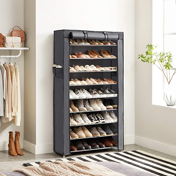 SONGMICS 10-Tier Shoe Rack, Non-Woven Shoe Organizer with Dustproof Cover, Grey URXJ36G