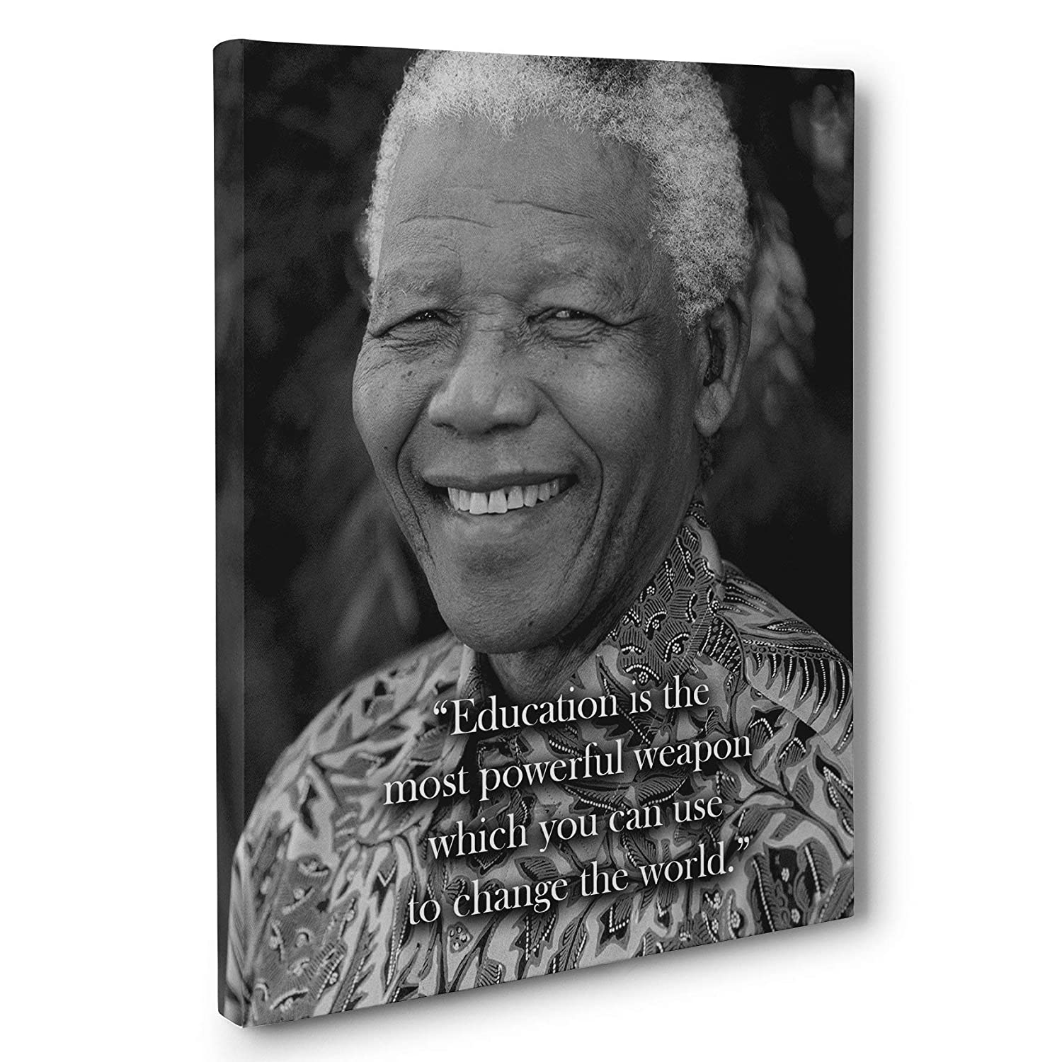 com education is powerful nelson mandela quote canvas