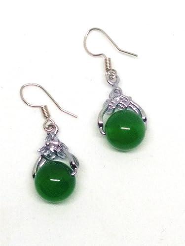 Women Silver Green Ball Bead Jade Gemstone Earrings mvrVu1xx