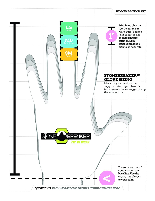 Stonebreaker Gloves Gardener Womens Gardening Glove Small Light Diagram Of Fingertips Blue