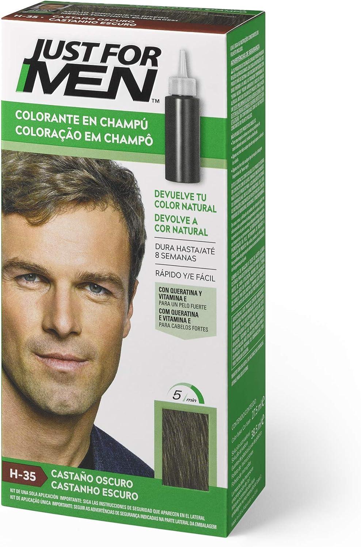 Just For Men, Tinte Colorante en champu para el cabello del hombre. Elimina las canas y rejuvenece el cabello en 5 minutos. Castaño Oscuro, 30 ml