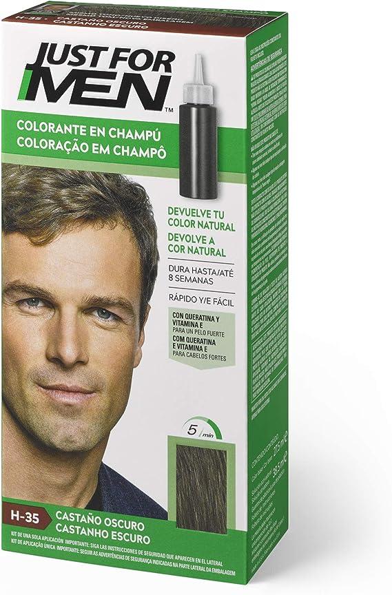 Just for men, Tinte Colorante en champú para el cabello del hombre, Elimina las canas y rejuvenece el cabello en 5 minutos, 30 ml, H35 Castaño Oscuro ...