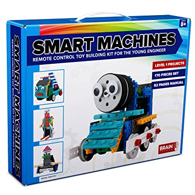 4-in-1 RC Robot Kit for Kids and Adults - STEM Toy Making Set, Building Blocks, No Soldering Required - Model SM1701 - Train, Firetruck, Skier and Duck (Easy to Medium Difficulty)