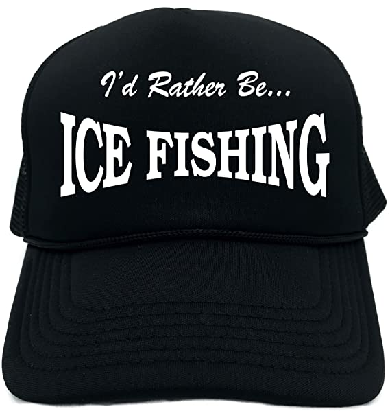 Amazon.com  Funny Trucker Hat (I D RATHER BE ICE FISHING) Unisex Adult Foam  Retro Cap  Clothing 30127ca8dc65
