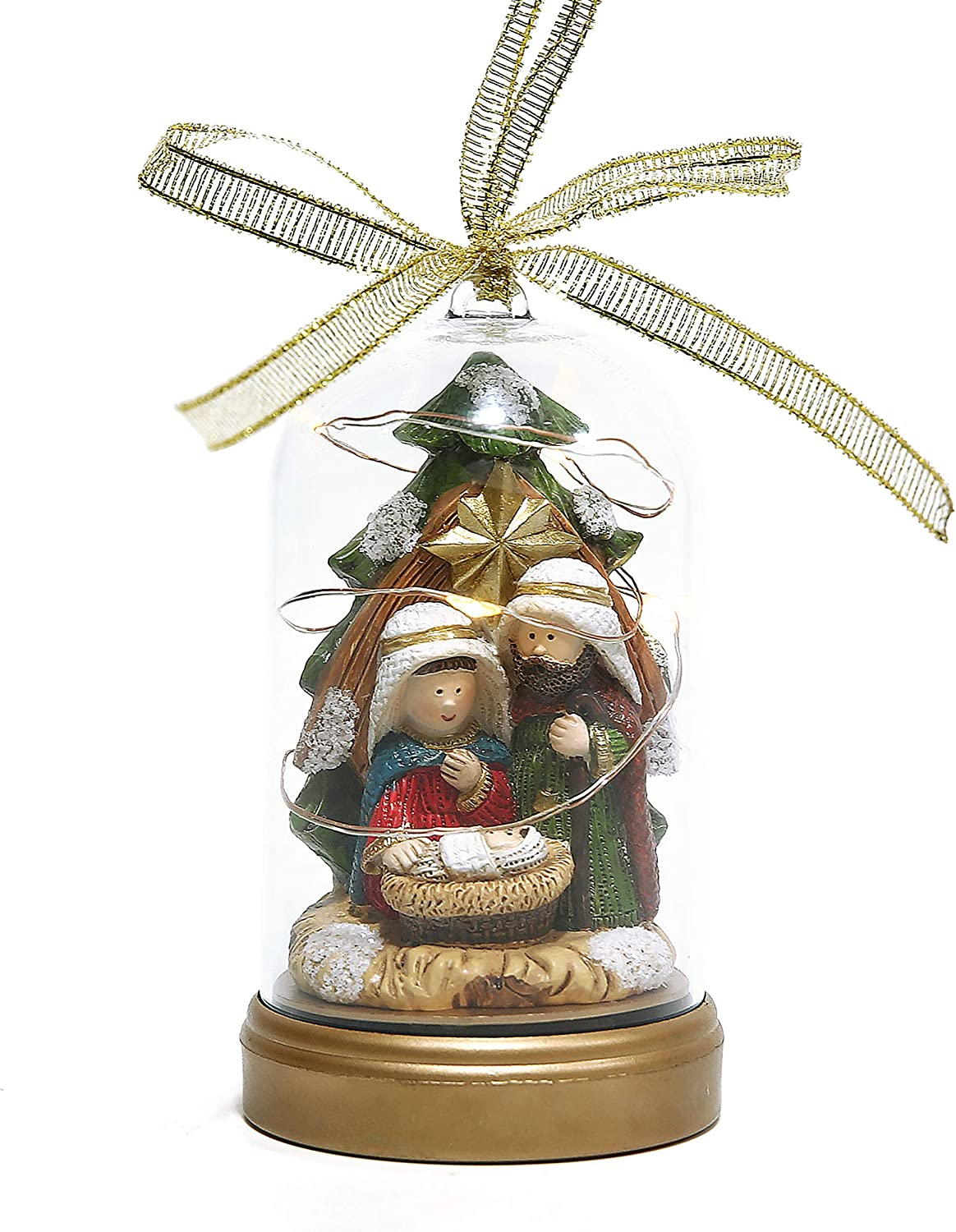 Nativity Scenes Holy Family Figurine with Stable Inside Dome for Indoor Tabletop Scene Decoration