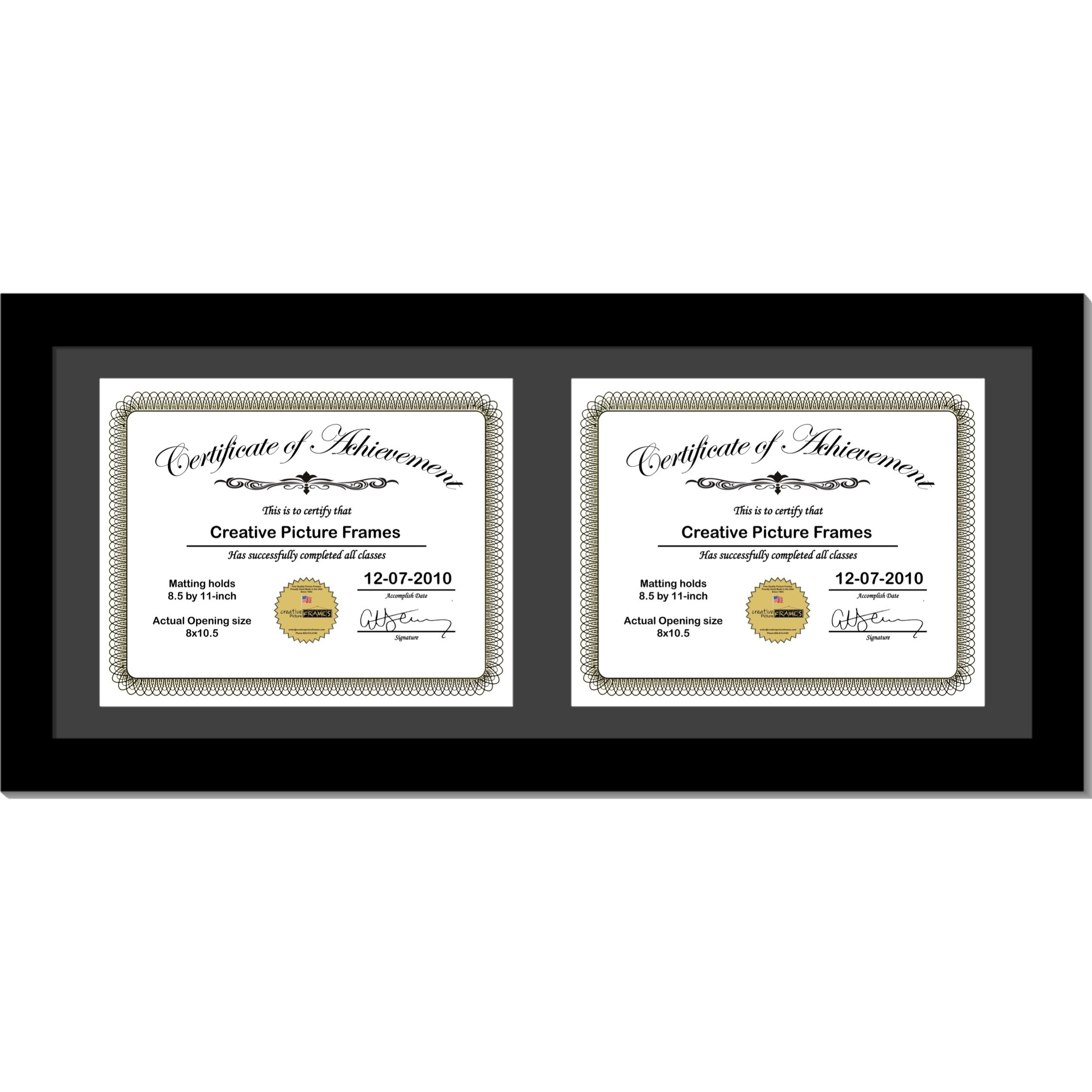 CreativePF [10x24bk-b] Black Horizontal Double Diploma Frame with 2 Opening Black Mat, Holds 2-8.5 by 11-inch Documents with Wall Hanger