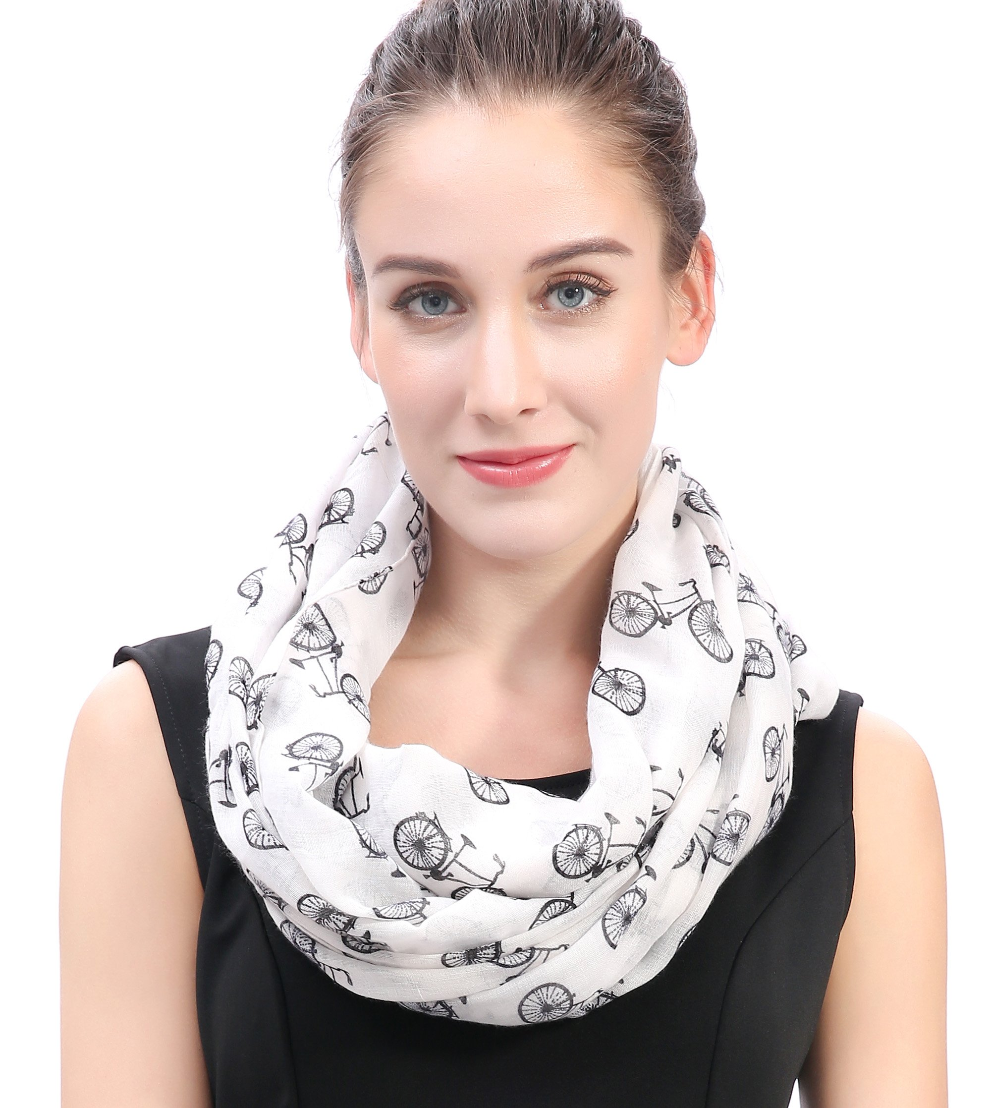 Lina & Lily Vintage Bicycle Print Loop Infinity Scarf for Women Lightweight (White and Black)