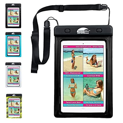 SwimCell Waterproof iPad Case for Large and Small Tablet, iPad, ipad Mini,  Kindle, Map etc  Pouch  Tested 20m Underwater  Easy to Use  Select from 2