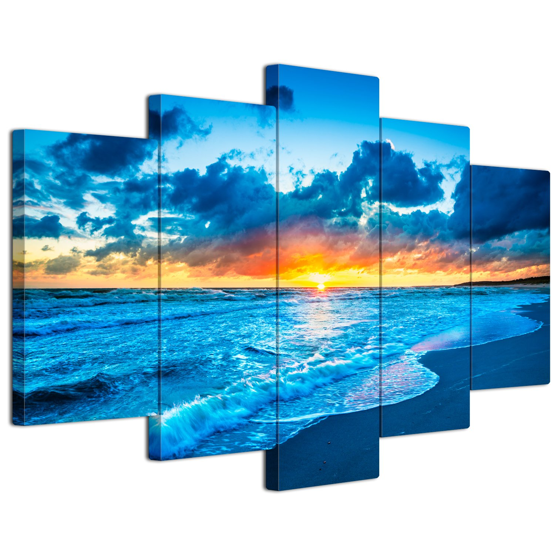 【リブラLibra】 5パネルセット アートパネル インテリアアート 海の景色 キャンバス絵画 (木枠付きの完成品) (L, LP1759) B075VKQ29F Large|LP1759 LP1759 Large