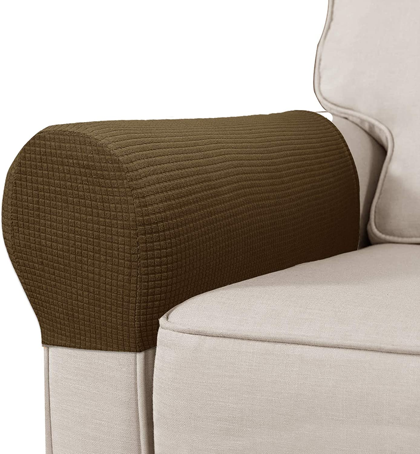 Anti-Slip Waterproof Stretch Fabric Armrest Covers Furniture Protector Armchair Slipcovers for Recliner Sofa Set of 2 (Coffee)