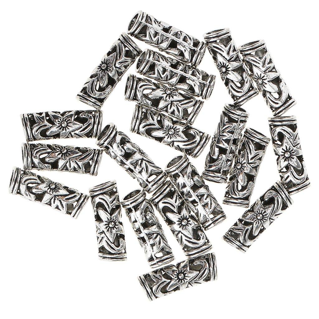 Holzperlen Metallperlen Antiksilber.unterschiedliche Arten MagiDeal 20 St/ück Pack Haarperlen Bartschmuck Dreadlocks Schmuck Perlen Haarschmuck Bunt