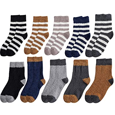 10 Pairs Men Boys Cozy Fuzzy Socks Soft Warm Fluffy Plush Winter Slipper Sleep Socks (Mens shoe size US 4-8.5, A set of 10 pairs) at Amazon Men's Clothing store