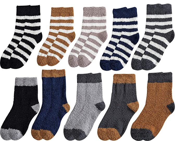 10 Pairs Men Boys Cozy Fuzzy Socks Soft Warm Fluffy Plush Winter Slipper Sleep Socks Mens Shoe Size Us 4 8 5 A Set Of 10 Pairs Amazon In Clothing Accessories