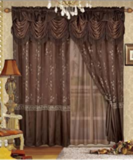 Fancy Collection Embroidery Curtain Set 1 Panel Drapes With Backing Valance Monica 55