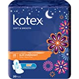 Kotex Soft and Smooth Slim Overnight 28cm Pads, 20 Pads