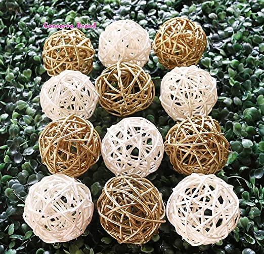 4 x Decor Balls Vase Filler Woven Handmade Home or Wedding Decor Natural Ball
