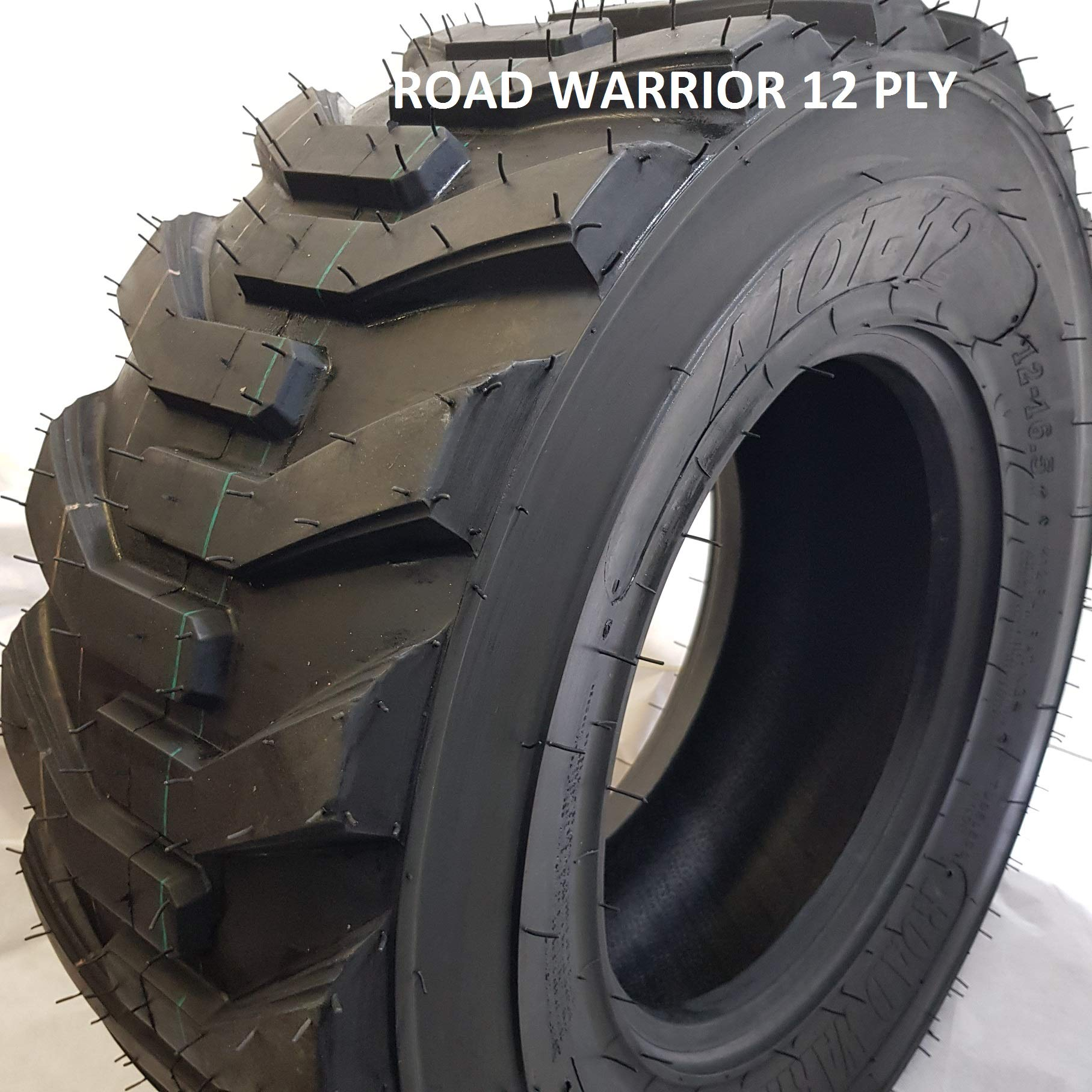 (1 TIRE) 12-16.5 ROAD WARRIOR AIOT-12 SKID STEER TIRE, 12 PLY, NHS SKS HEAVY DUTY WEIGH 65 LBS