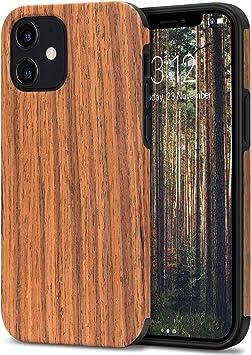 TENDLIN Coque iPhone 12 / Coque iPhone 12 Pro Etui en Bois et TPU Silicone Compatible avec iPhone 12 et iPhone 12 Pro (Bois de Santal Rouge)