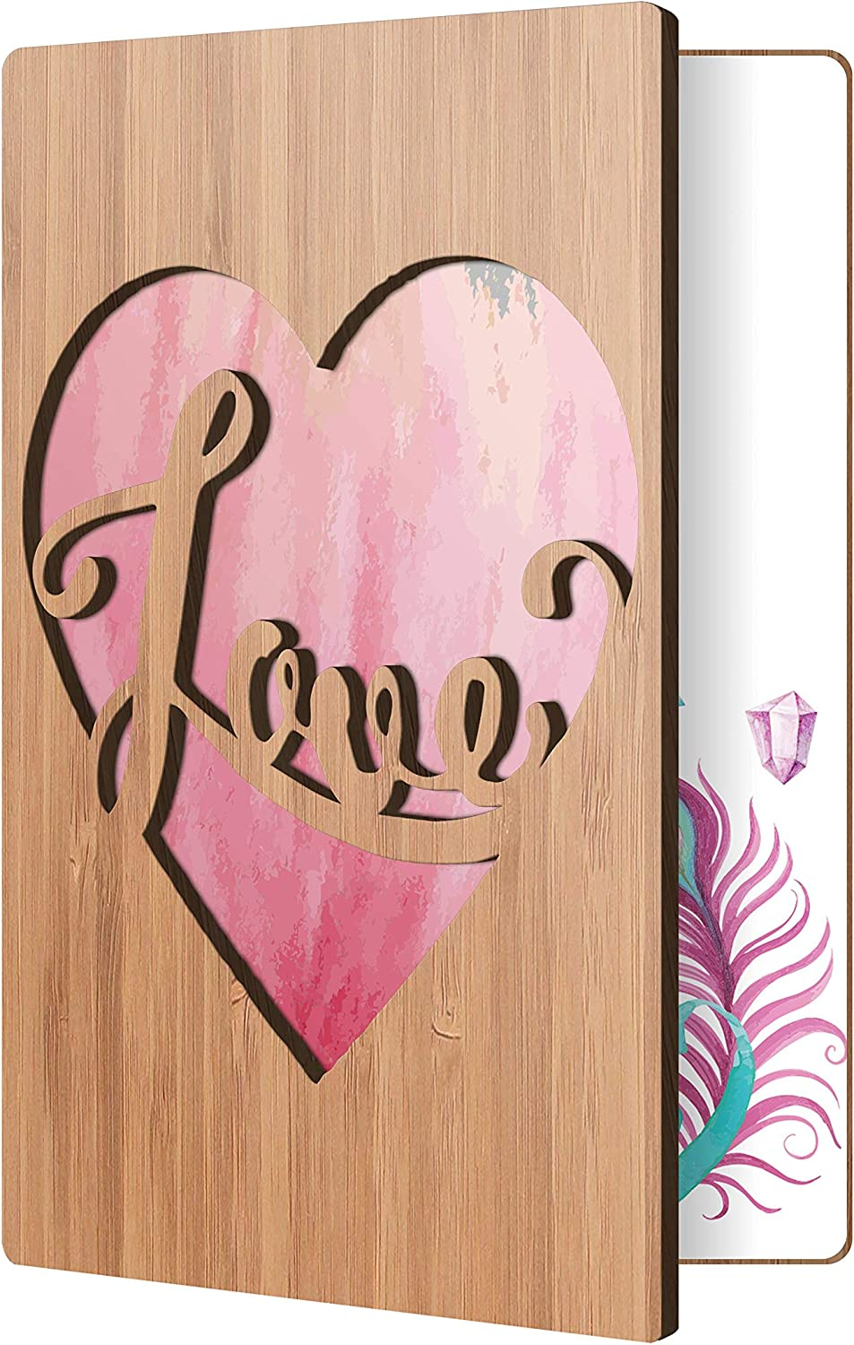 Him Or Her; Romantic Anniversary Gift Husband Love Card: Real Wood Valentines Day Card For Wife