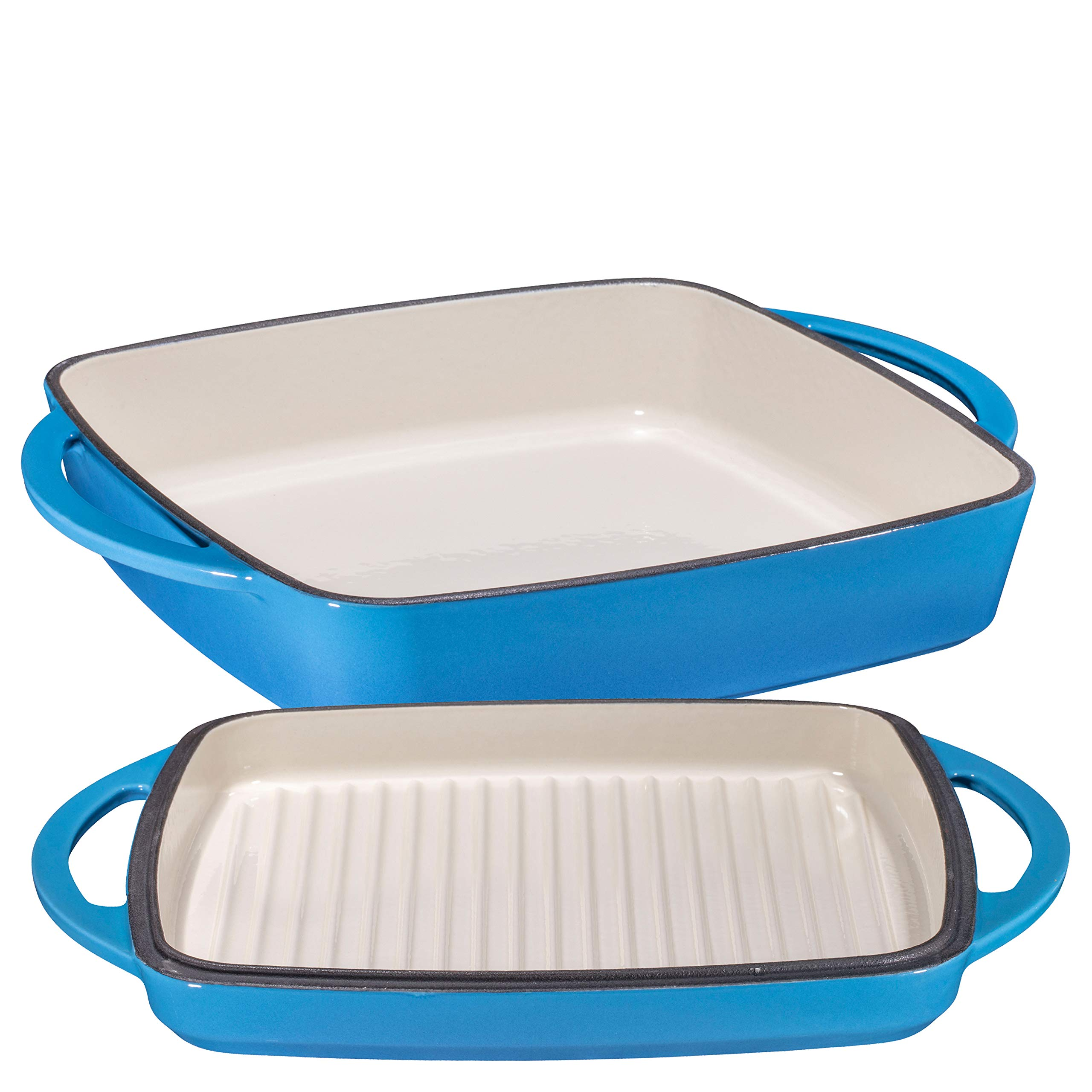 2 in 1 Enameled Cast Iron Square Casserole Baking Pan With Griddle Lid 2 in 1 Multi Baker Dish 11'' - Blue Whale